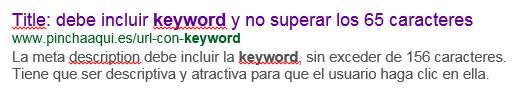 Title url y meta description vistos en una búsqueda de Google
