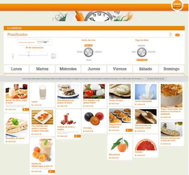 Imagen gráfica del planificador de recetas de consum y la gestion de su ecommerce