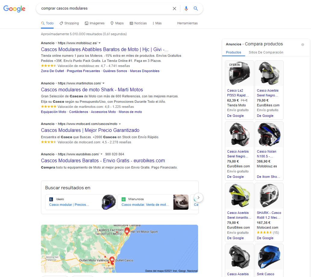 resultados de busqueda google en busquedas transaccionales